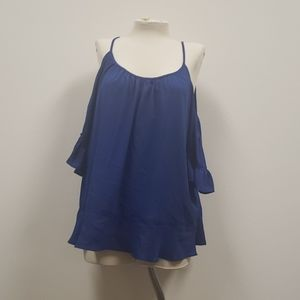 Michael Kors twilight blue off-the-shoulder top.